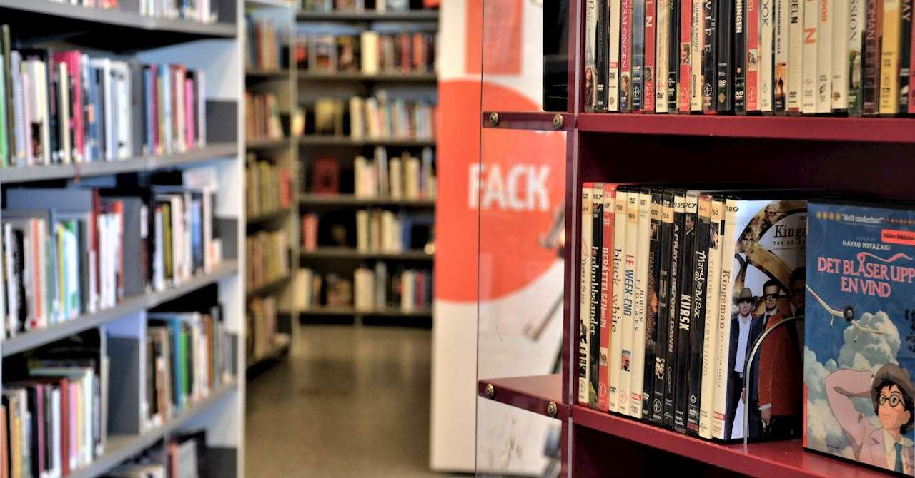 I olika hyllor står fullt med filmer och böcker.